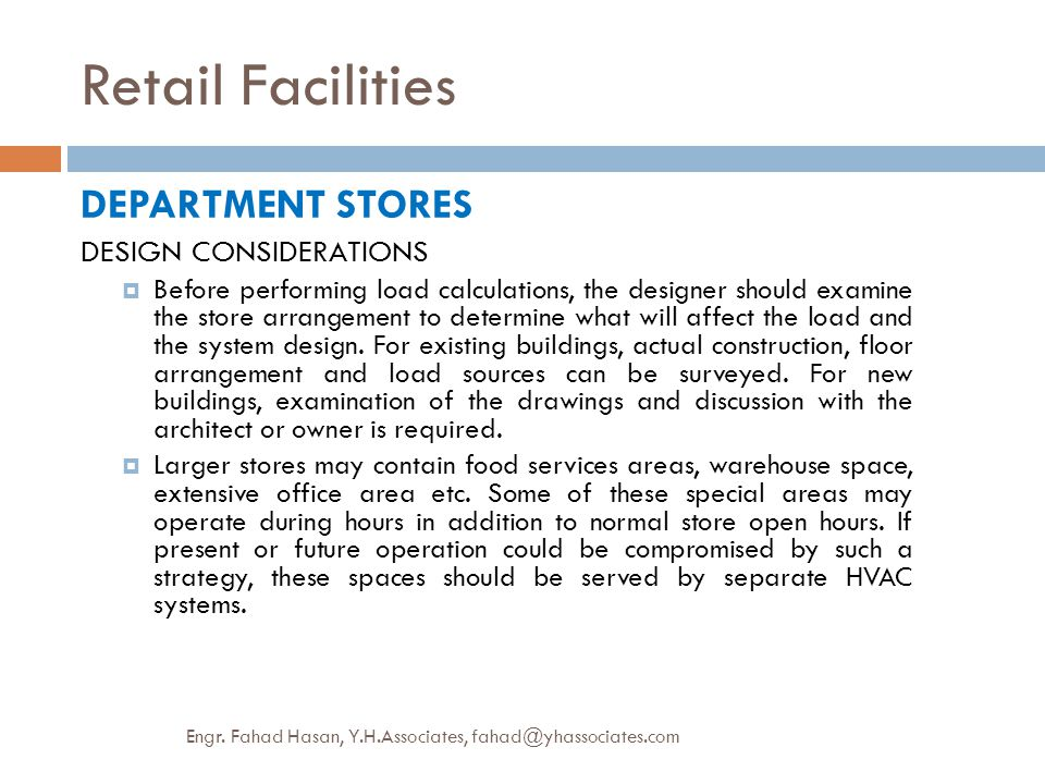 Retail Facilities DEPARTMENT STORES DESIGN CONSIDERATIONS
