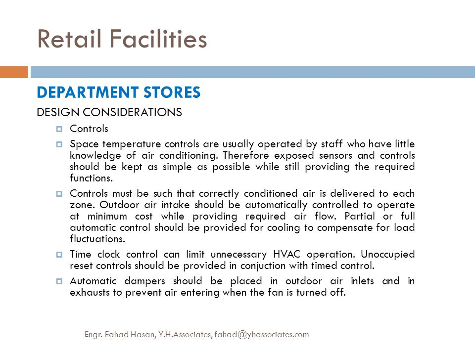 Retail Facilities DEPARTMENT STORES DESIGN CONSIDERATIONS Controls