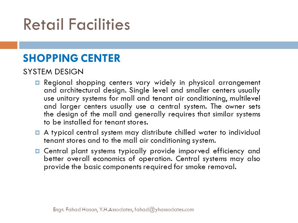 Retail Facilities SHOPPING CENTER SYSTEM DESIGN