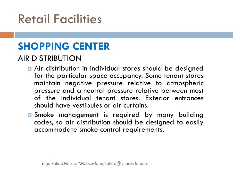 Retail Facilities SHOPPING CENTER AIR DISTRIBUTION