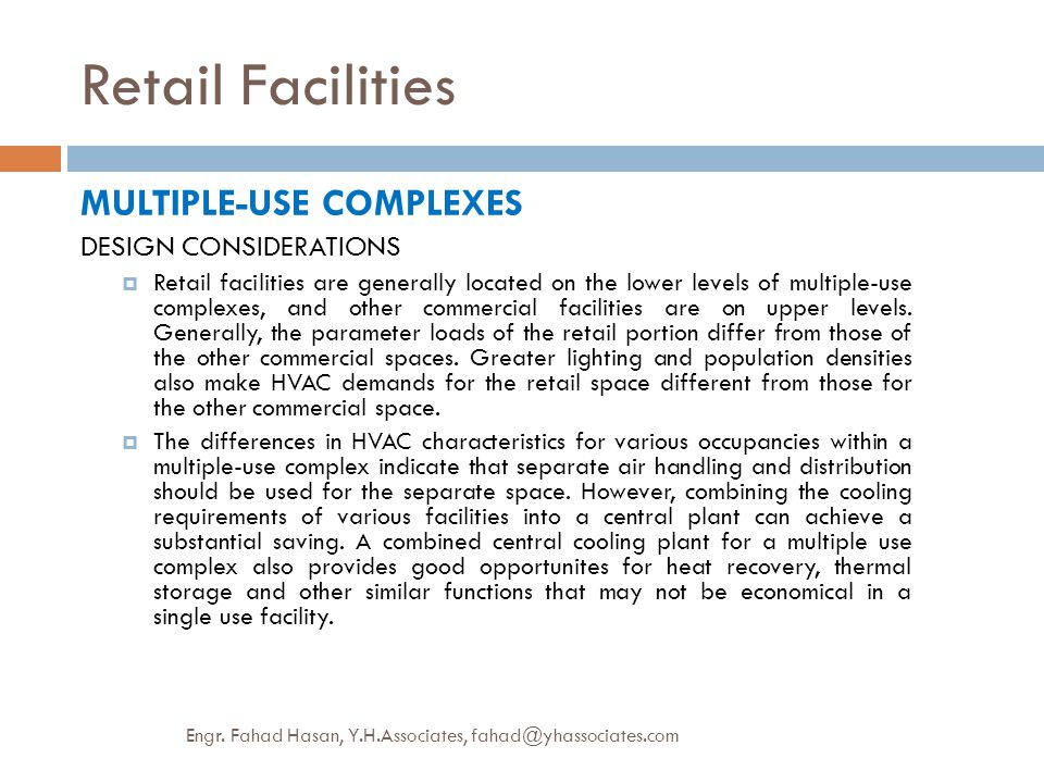 Retail Facilities MULTIPLE-USE COMPLEXES DESIGN CONSIDERATIONS