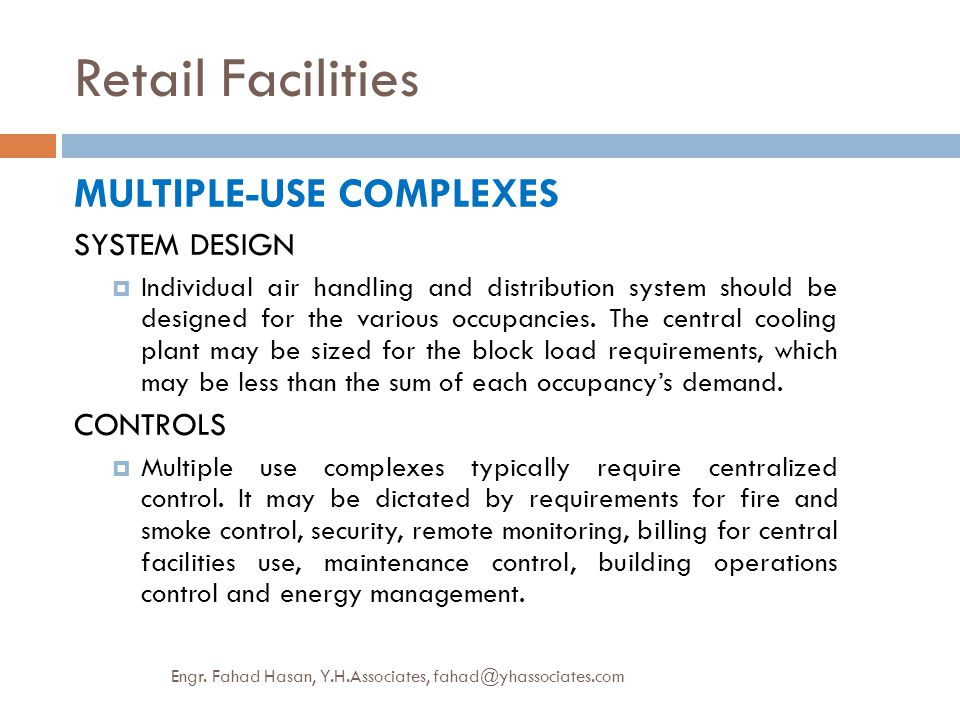 Retail Facilities MULTIPLE-USE COMPLEXES SYSTEM DESIGN CONTROLS
