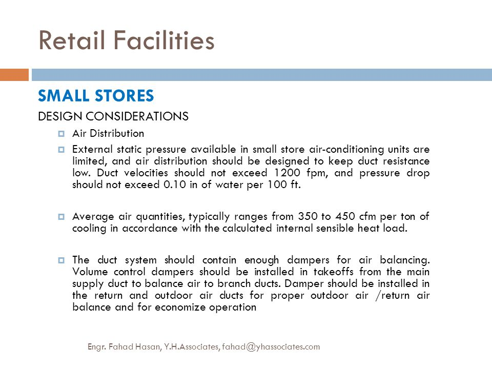 Retail Facilities SMALL STORES DESIGN CONSIDERATIONS Air Distribution