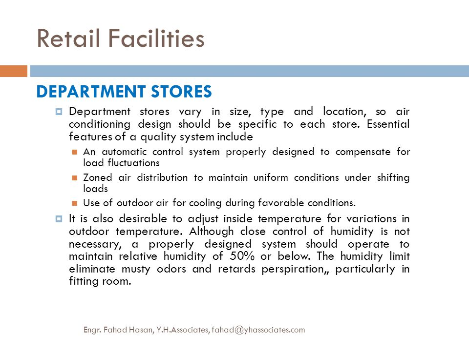 Retail Facilities DEPARTMENT STORES