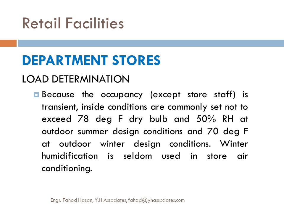 Retail Facilities DEPARTMENT STORES LOAD DETERMINATION