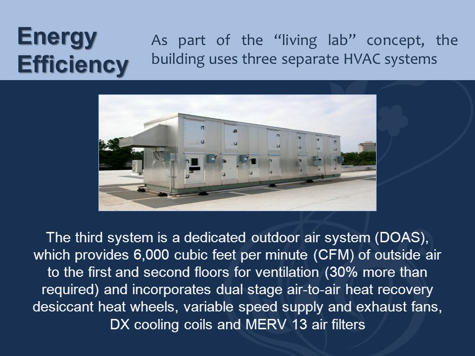 Energy Efficiency As part of the living lab concept, the building uses three separate HVAC systems.