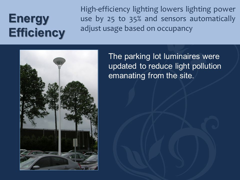 High-efficiency lighting lowers lighting power use by 25 to 35% and sensors automatically adjust usage based on occupancy
