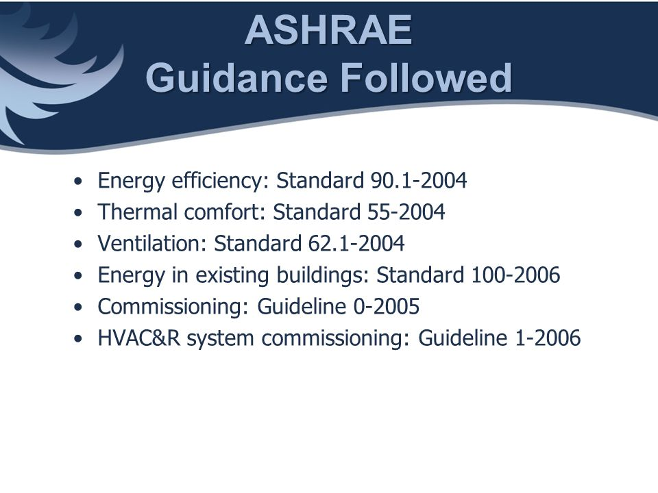 ASHRAE Guidance Followed