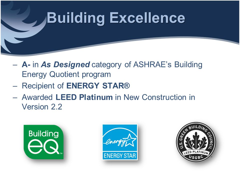 Building Excellence A- in As Designed category of ASHRAE's Building Energy Quotient program. Recipient of ENERGY STAR®