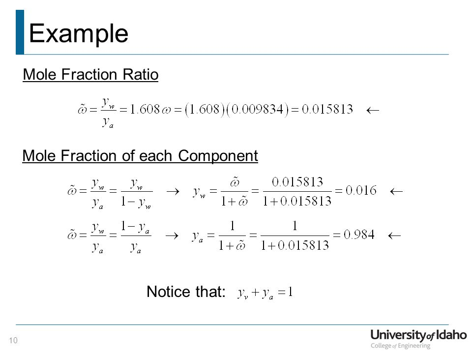 Example Mole Fraction Ratio Mole Fraction of each Component