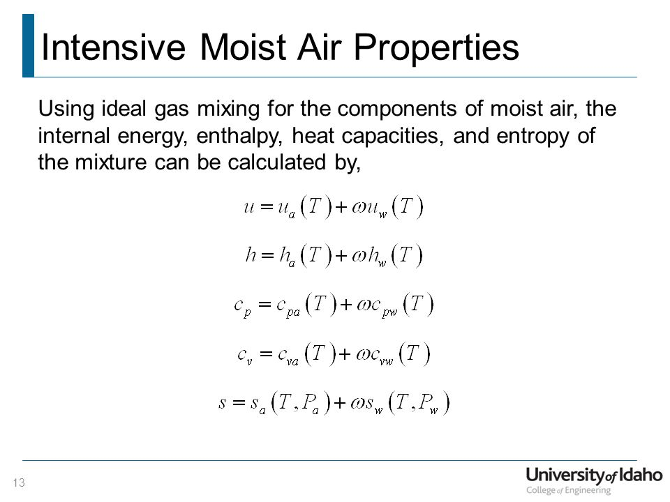 Intensive Moist Air Properties