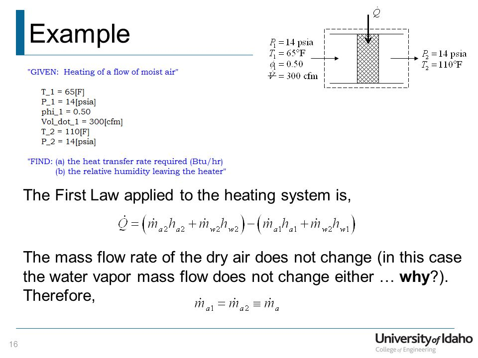 Example The First Law applied to the heating system is,