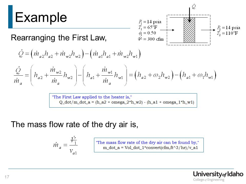 Example Rearranging the First Law,