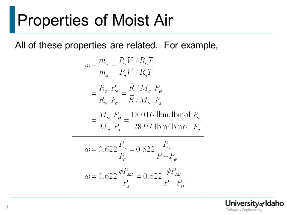 Properties of Moist Air