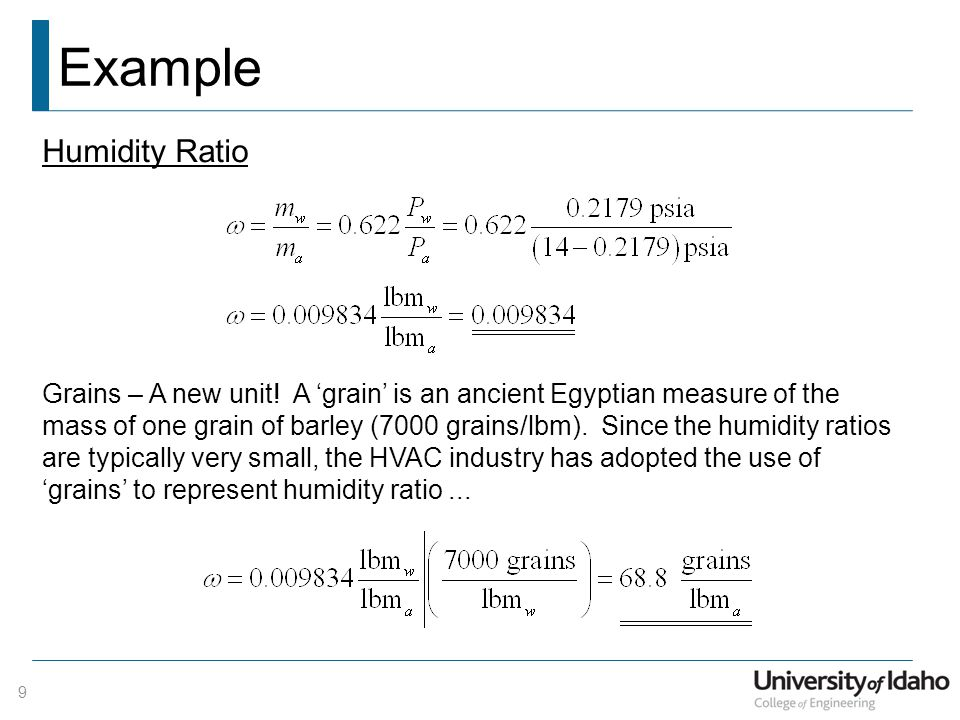 Example Humidity Ratio
