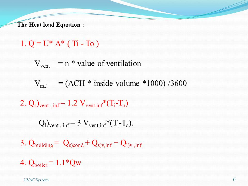 Vvent = n * value of ventilation
