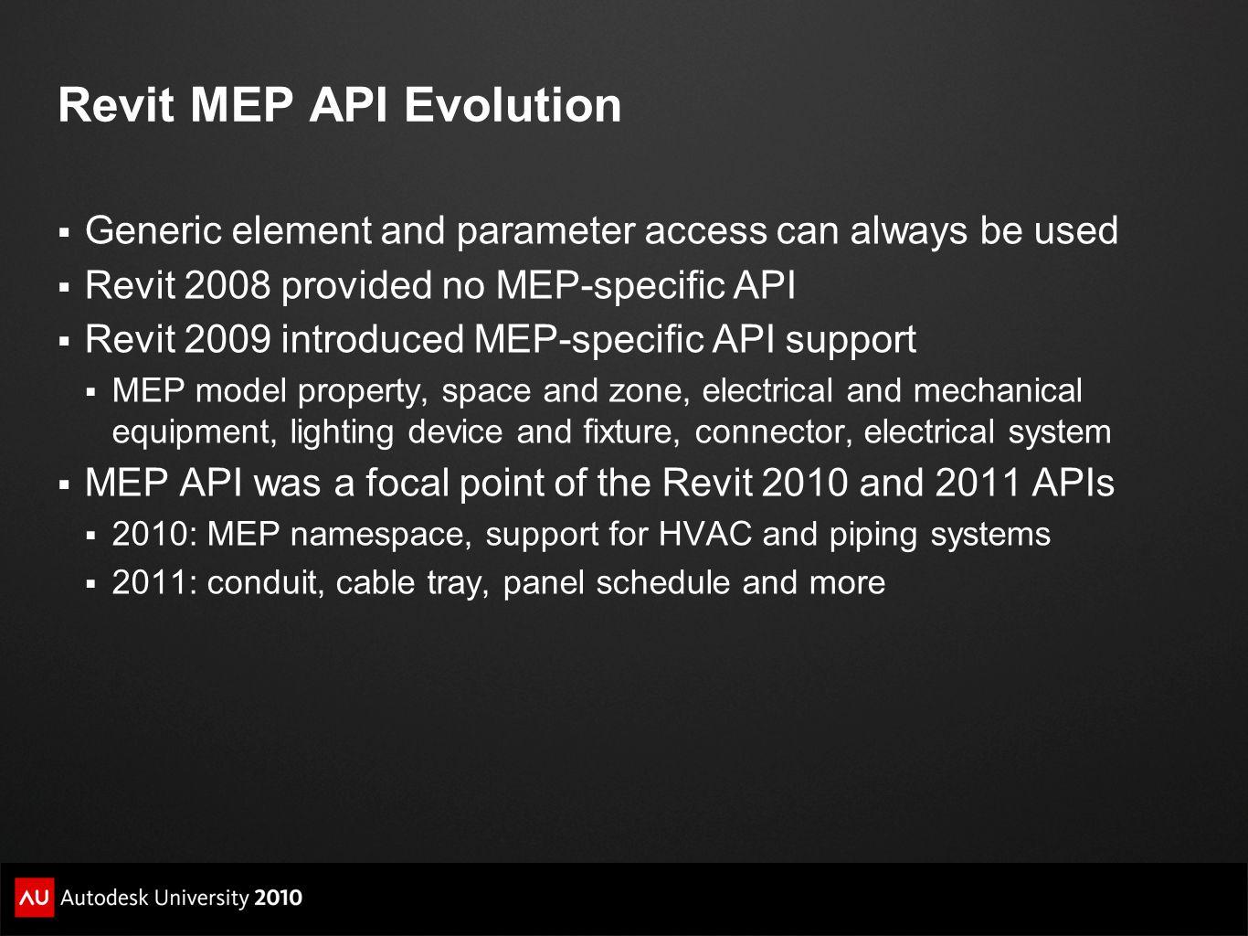 Revit MEP API Evolution