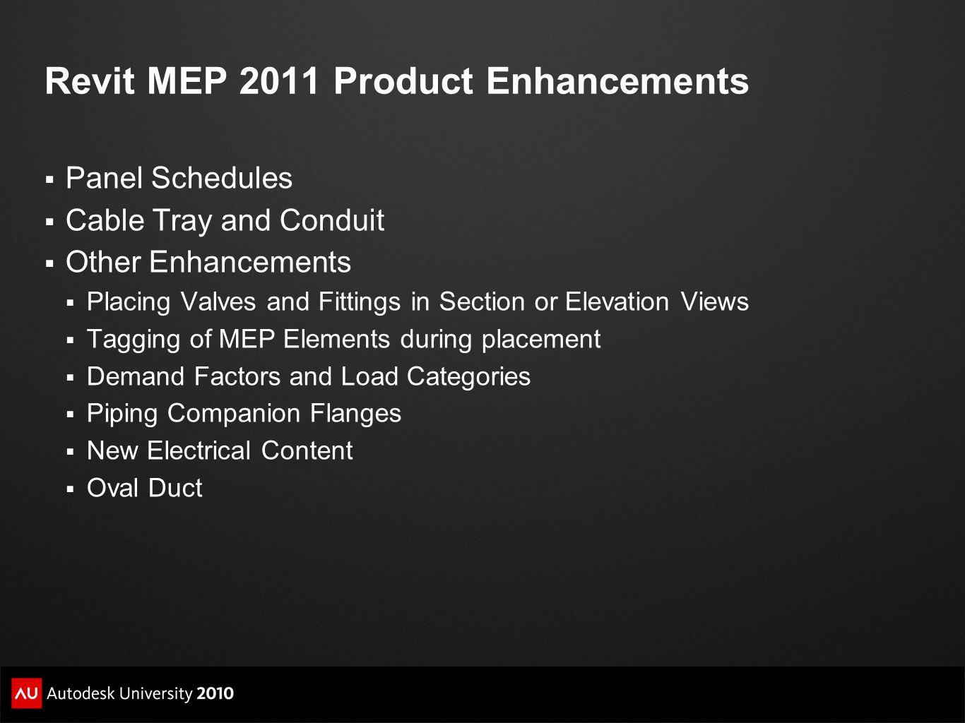 Revit MEP 2011 Product Enhancements