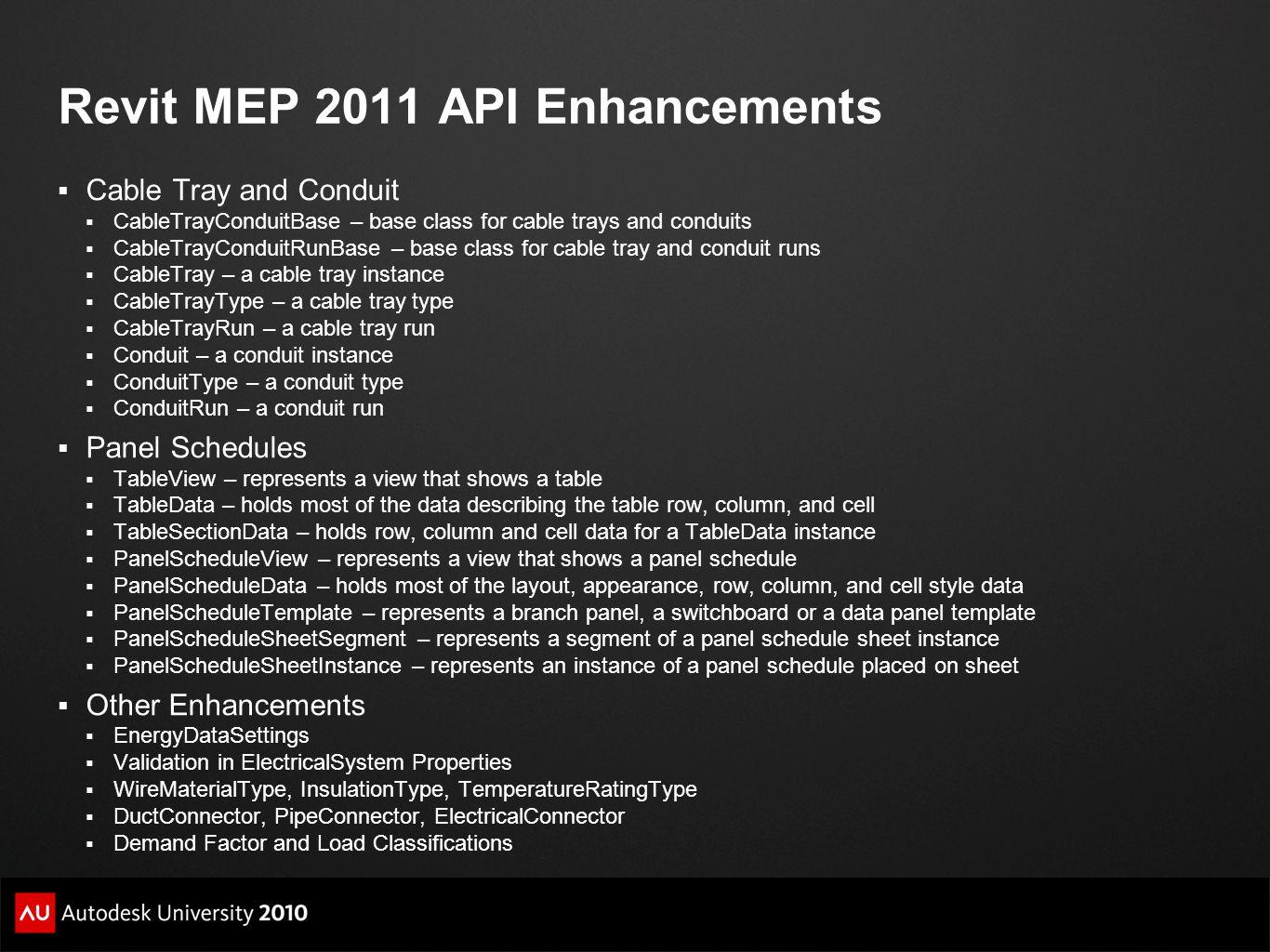 Revit MEP 2011 API Enhancements