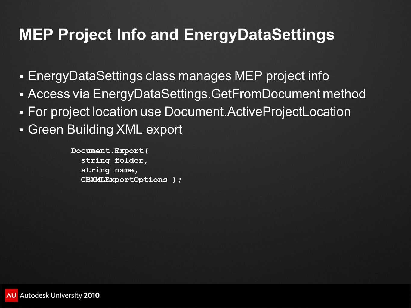 MEP Project Info and EnergyDataSettings
