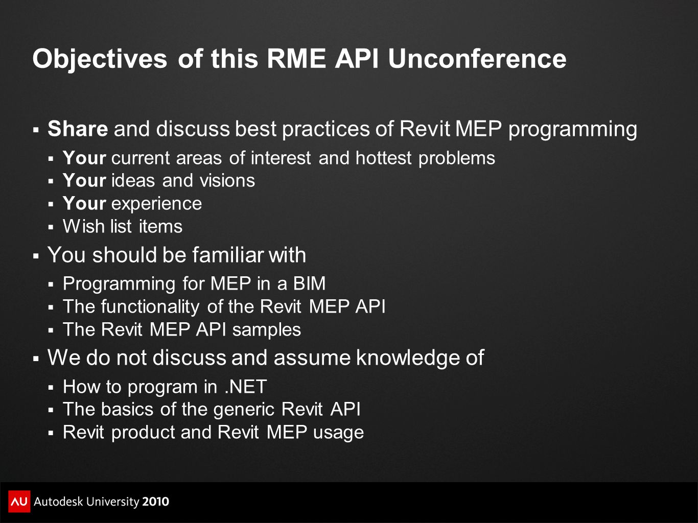 Objectives of this RME API Unconference