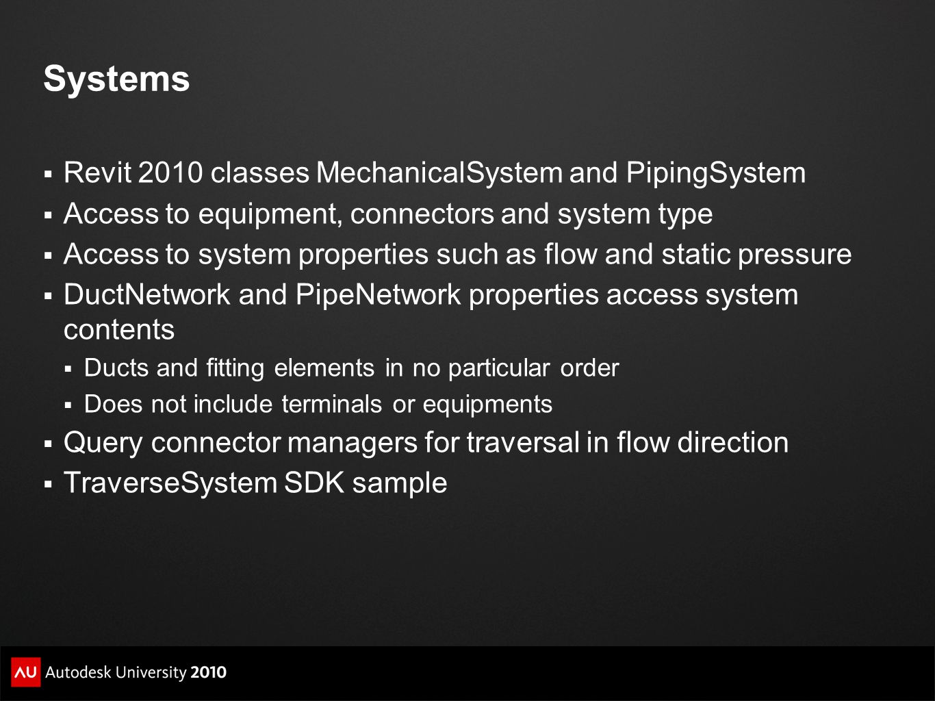 Systems Revit 2010 classes MechanicalSystem and PipingSystem