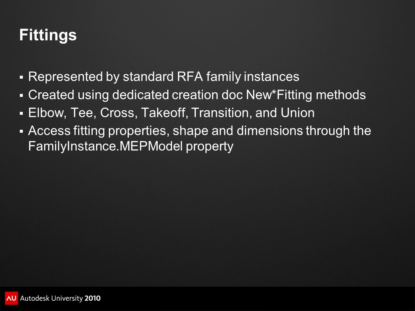 Fittings Represented by standard RFA family instances