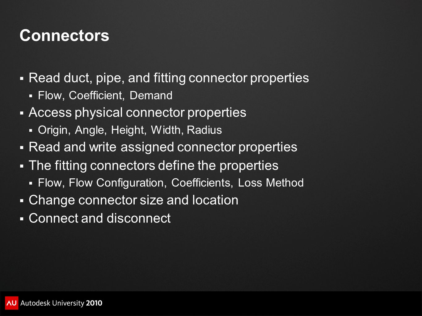 Connectors Read duct, pipe, and fitting connector properties