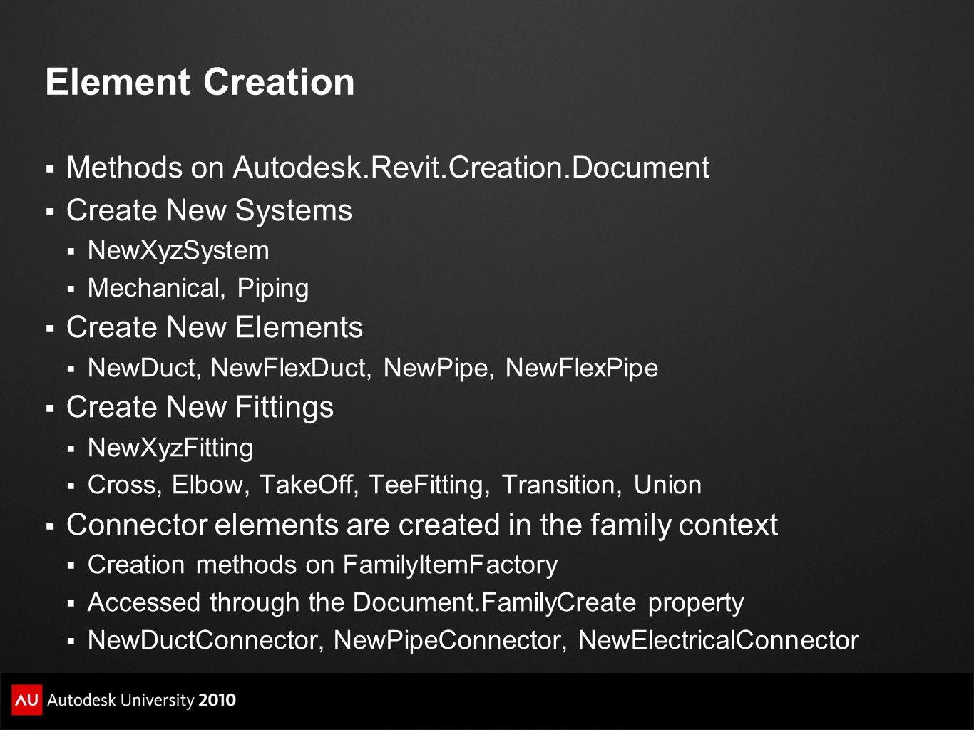 Element Creation Methods on Autodesk.Revit.Creation.Document