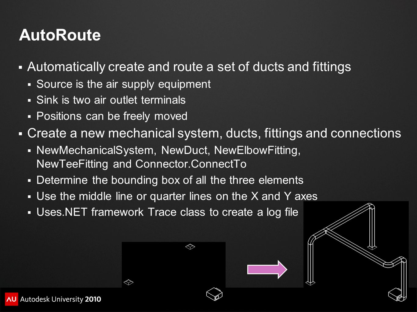 AutoRoute Automatically create and route a set of ducts and fittings
