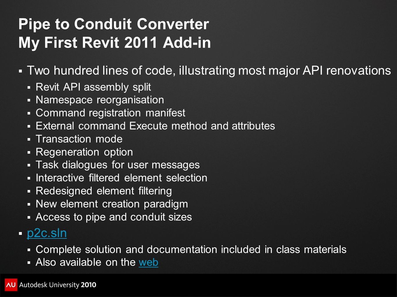 Pipe to Conduit Converter My First Revit 2011 Add-in