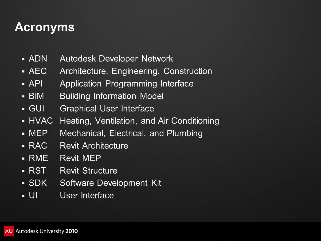 Acronyms ADN Autodesk Developer Network