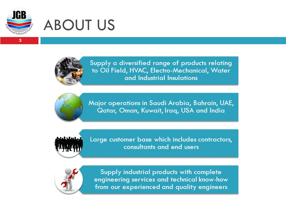 ABOUT US Supply a diversified range of products relating to Oil Field, HVAC, Electro-Mechanical, Water and Industrial Insulations.