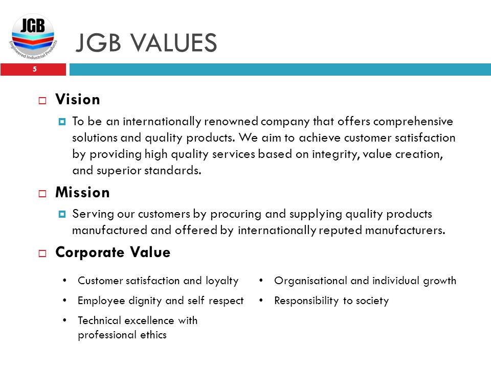 JGB VALUES Vision Mission Corporate Value