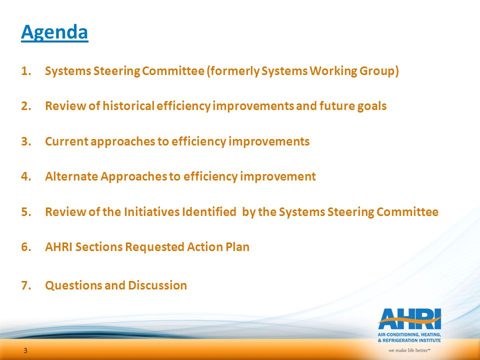 Agenda Systems Steering Committee (formerly Systems Working Group)