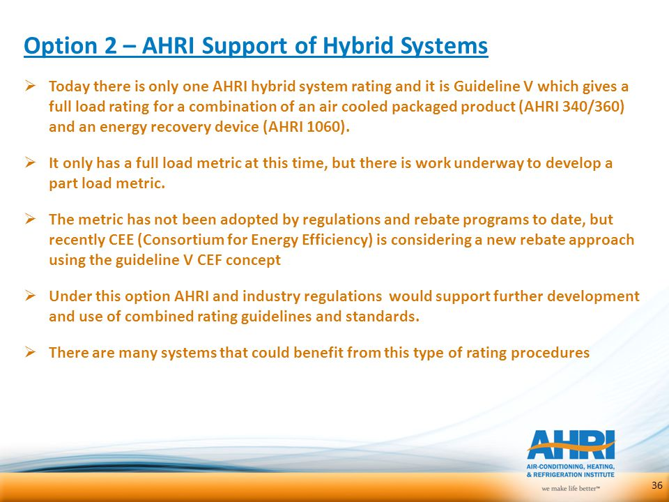 Option 2 – AHRI Support of Hybrid Systems