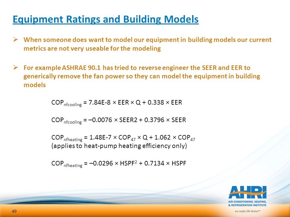 Equipment Ratings and Building Models