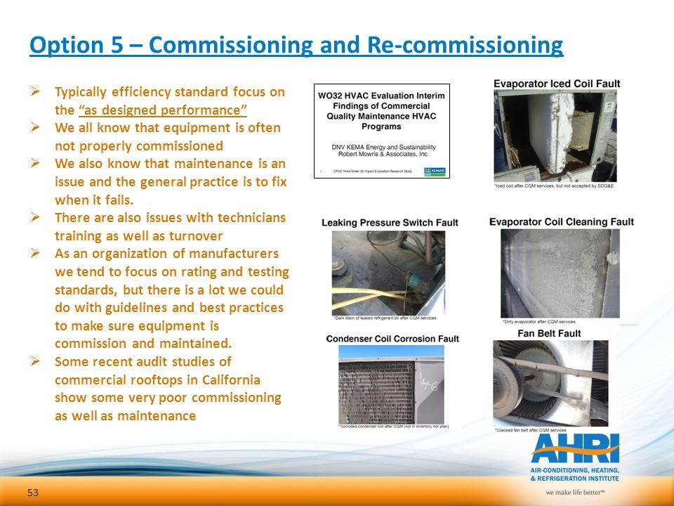 Option 5 – Commissioning and Re-commissioning