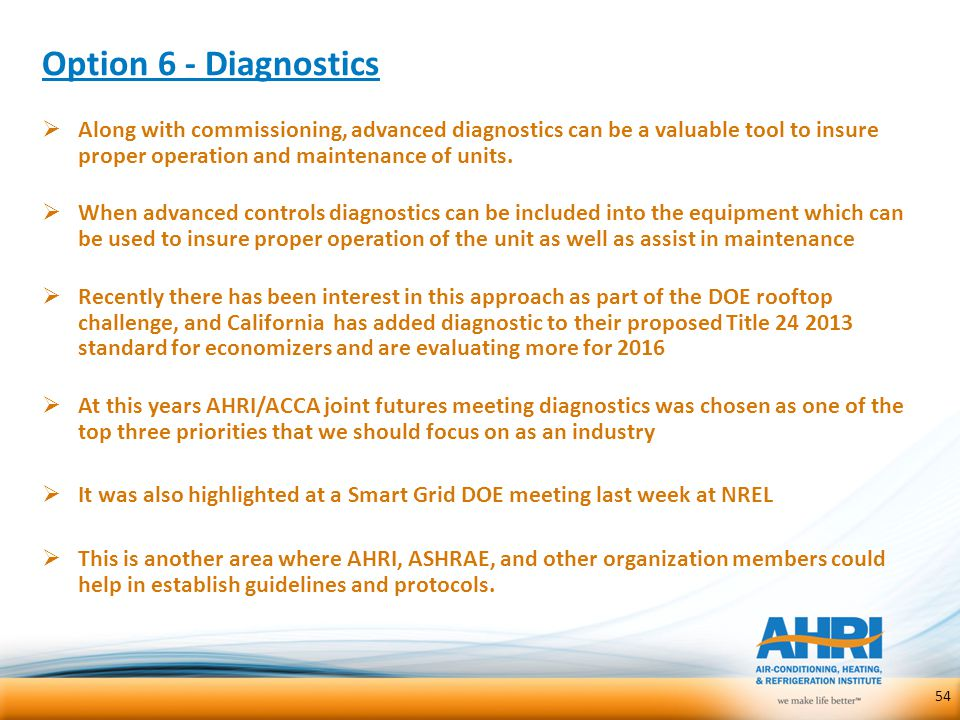 Option 6 - Diagnostics Along with commissioning, advanced diagnostics can be a valuable tool to insure proper operation and maintenance of units.