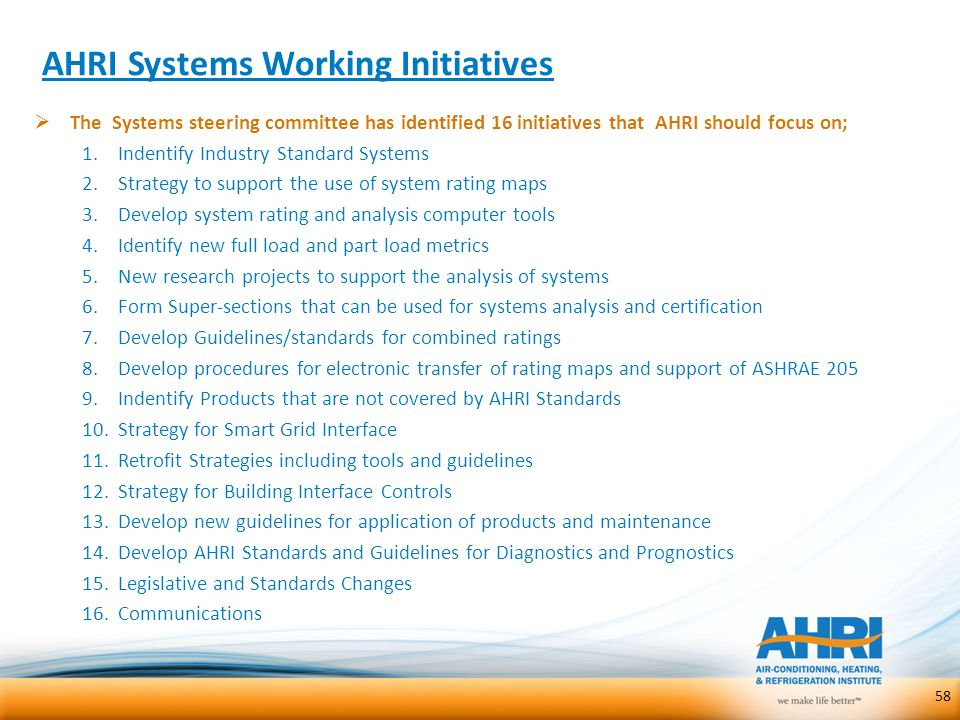 AHRI Systems Working Initiatives