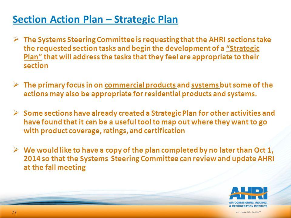 Section Action Plan – Strategic Plan