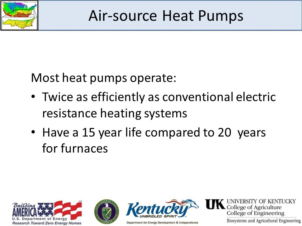 Air-source Heat Pumps Most heat pumps operate: