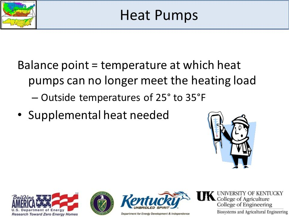 Heat Pumps Balance point = temperature at which heat pumps can no longer meet the heating load. Outside temperatures of 25° to 35°F.