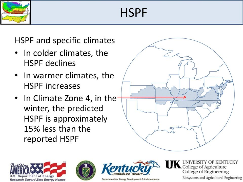 HSPF HSPF and specific climates In colder climates, the HSPF declines