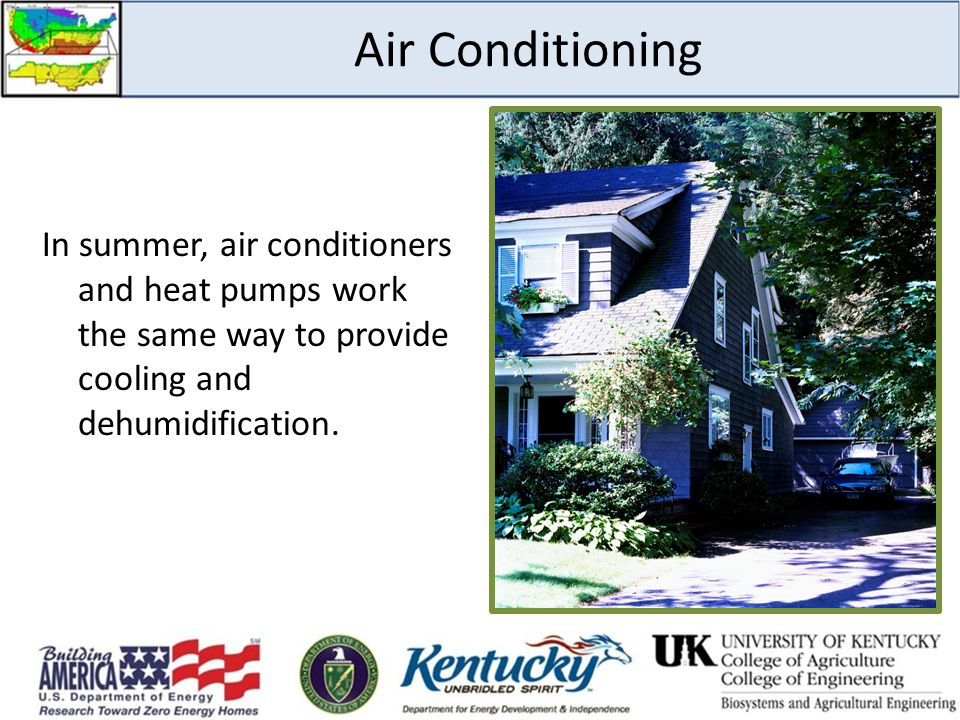 Air Conditioning In summer, air conditioners and heat pumps work the same way to provide cooling and dehumidification.