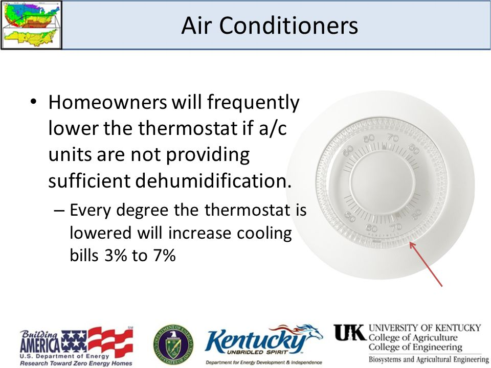 Air Conditioners Homeowners will frequently lower the thermostat if a/c units are not providing sufficient dehumidification.
