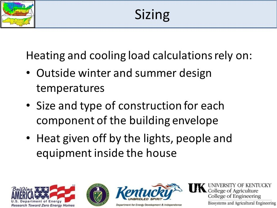 Sizing Heating and cooling load calculations rely on: