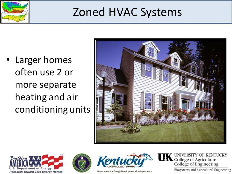 Zoned HVAC Systems Larger homes often use 2 or more separate heating and air conditioning units. Zoned HVAC Systems.