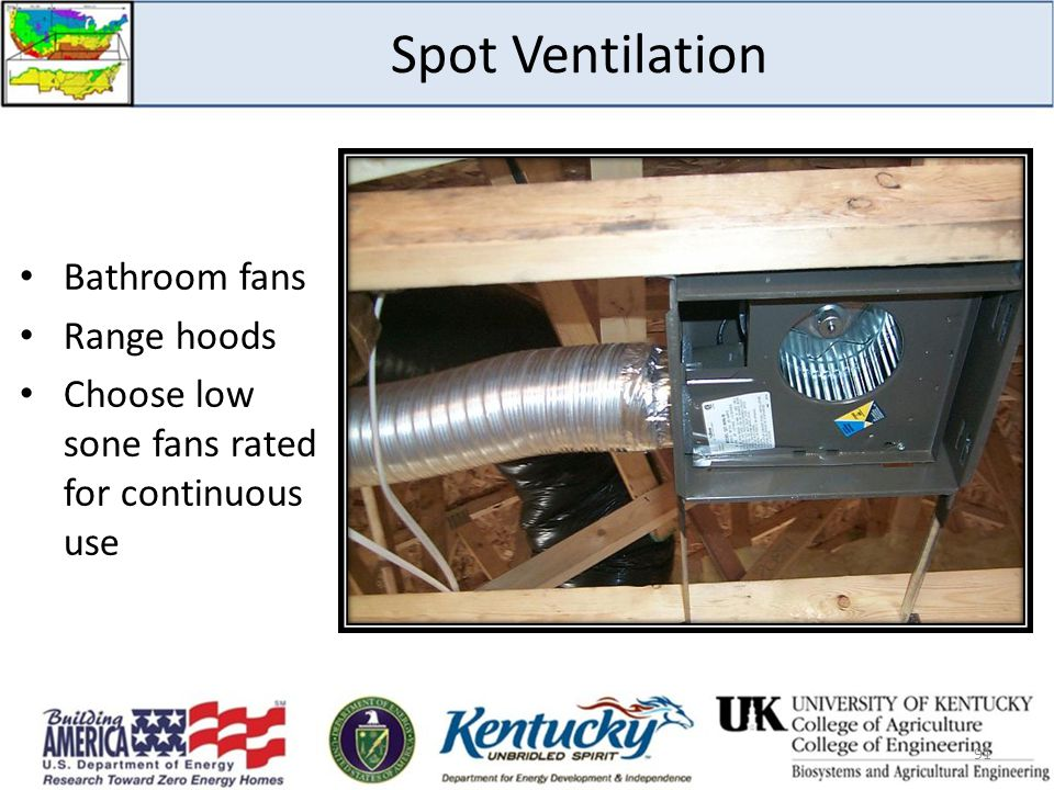 Spot Ventilation Bathroom fans Range hoods
