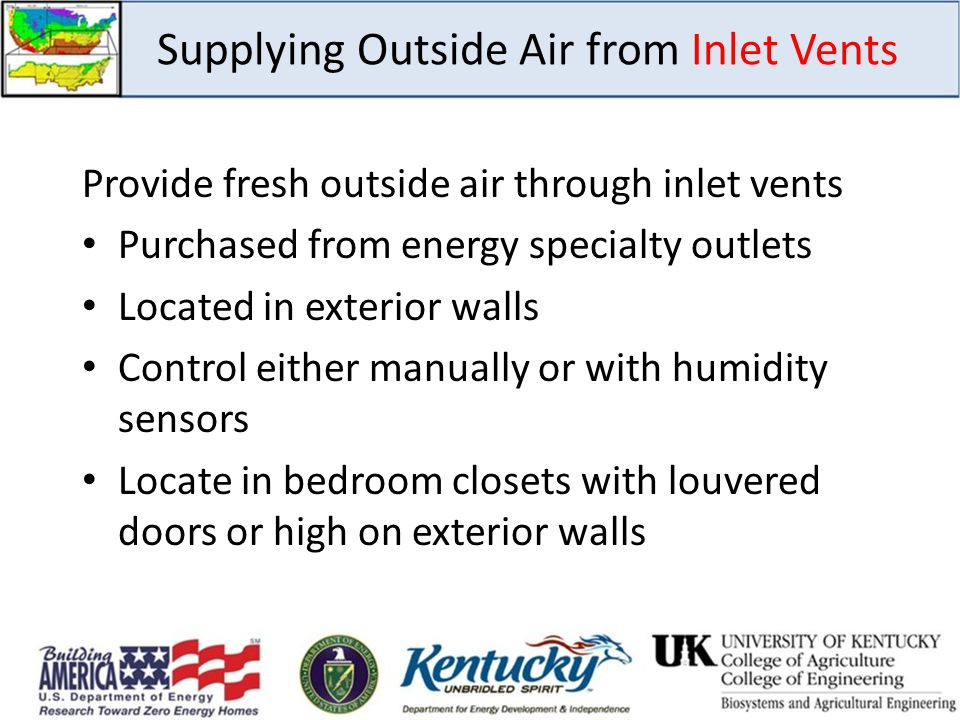 Supplying Outside Air from Inlet Vents